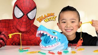 Fun Scary Kids Game SHARK BITE Playtime With Spiderman And Ckn Toys