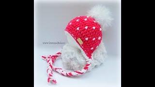 Crochet winter baby beanie with dotts