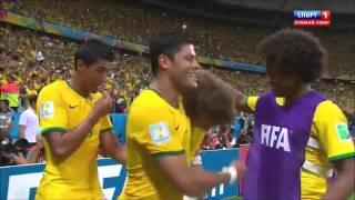 david luiz free kick goal in fifa world cup 2014 Brazil VS Colombia