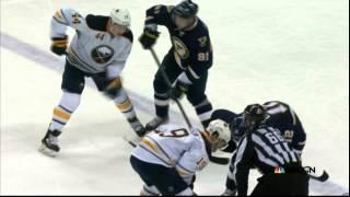 Nicolas Deslauriers match spear on Vladimir Tarasenko Buffalo Sabres vs St. Louis Blues Nov 11 2014