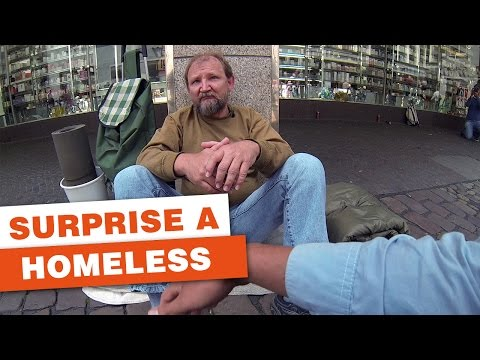 Three German students surprise a homeless guy