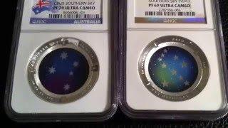 Australian Proof Silver $5 Color Domed coin -2012 & 2013 Crux Southern Sky & Pavo