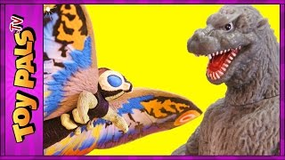 GODZILLA vs MOTHRA Toys | EPIC Fight Scene With Eggs, Mothra Larva Toy Reviews Videos