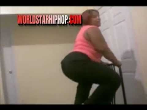 Fat girl falls off the table