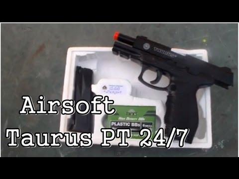 Airsoft Taurus PT 24/7 - Spring - [Teste de Tiro e Review]