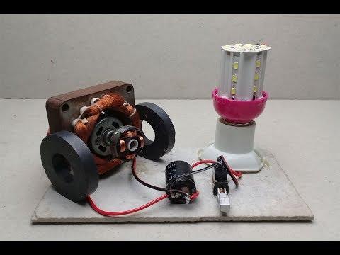 Free energy generator Homemade Using Magnet & DC Motor  with Light bulb 12v Output thumbnail