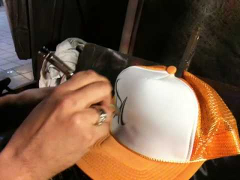 Airbrush graffiti  on hat and airbrush tips and tricks