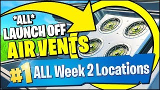 LAUNCH OFF OF AIR VENTS IN DIFFERENT MATCHES *ALL LOCATIONS* (Fortnite Season 9 Week 2 Challegnes)