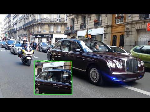 La reine Elizabeth II convoi dans Paris /Queen Elizabeth II convoy in Paris