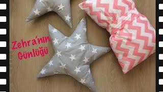 Yıldız yastık yapımı - Yıldız Kalıp Çizimi - Ev dekorasyonu
