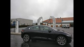 Jaguar I-Pace charges at 90kW in Denmark at Ionity Porsche Design chargers Rødekro, Aabenraa