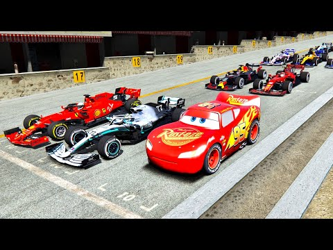 Lightning McQueen vs F1 2019 Cars - Nardo Speed Ring
