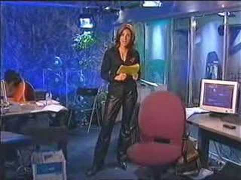 attractive anchor woman in leather pants