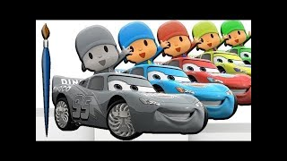 Learn Colors with Talking Pocoyo Cars Lightning McQueen Painting - Learning Colours & Songs for Kids