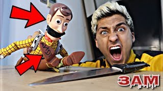 DO NOT CUT OPEN HAUNTED WOODY DOLL FROM TOY STORY AT 3AM!! *OMG WHAT'S INSIDE WOODY*