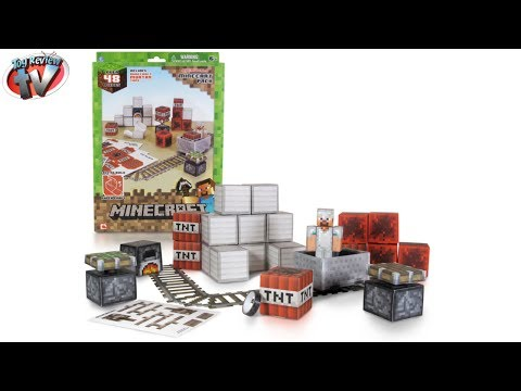 Minecraft: Overworld Minecart Pack Papercraft Toy Review. Jazwares
