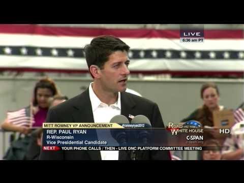 Mitt Romney VP Announcement with Rep. Paul Ryan (C-SPAN)
