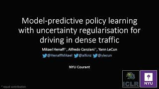 Model-Predictive Policy Learning with Uncertainty Regularization for Driving in Dense Traffic