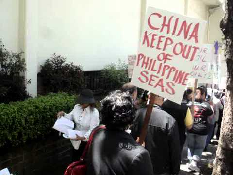 Filipino Americans protest at China Consulate in San Francisco on July 8, 2011