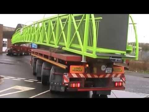Whittens Road transport delivering footbridge to Denny Scotland