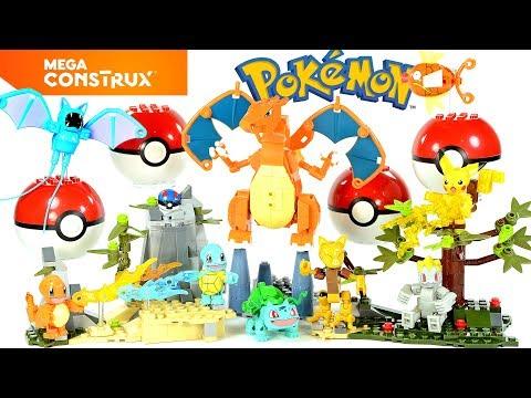 Pokémon Pikachu Bulbasaur Squirtle Charmander Magikarp Abra Machop Zubat & Charizard Mega Construx