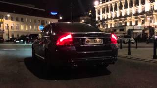 Volvo S80 V8 with custom exhaust roars in Warsaw at night