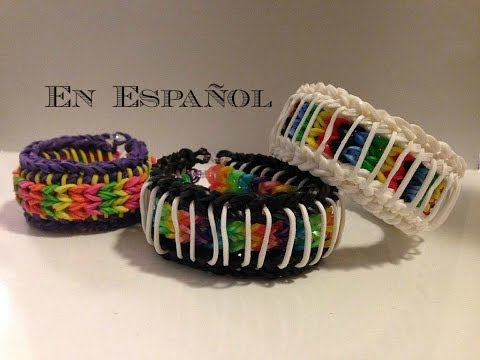 Rainbow Loom en ESPAñOL - Sailors Pinstripe Bracelet-  Pulsera de Gomita DIY