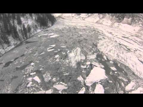 Valdez Alaska: Massive Avalanche and ice dam in Keystone Canyon