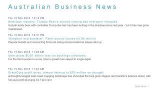Business News Headlines for 15 Nov 2018 - 1 PM Edition