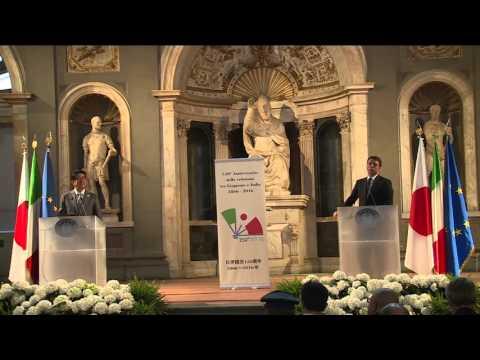 Dichiarazioni di Renzi e Shinzo Abe a Firenze (HD) (02/05/2016)