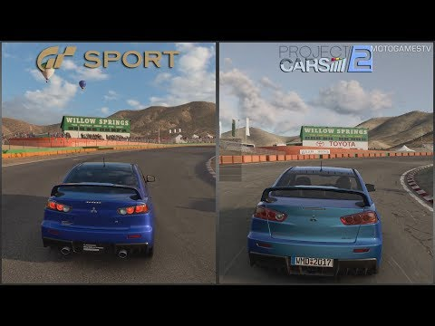 GT Sport Beta 1.08 vs Project CARS 2 - Mitsubishi Lancer Evolution at Willow Springs
