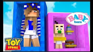 BABY BORN'S ARRIVE AT THE TOYSTORE! w/Little Carly (Minecraft Toystore).
