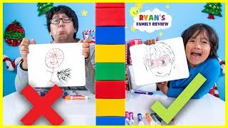 Twin Telepathy Drawing Guess What Ryan is Thinking Challenge!!!
