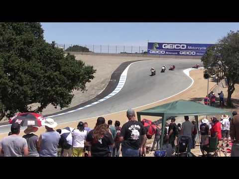 2017 WSBK Laguna Seca Corkscrew Action Race 1 + Chaz Davies with Nicky Hayden Flag