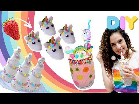 DIY COMIDINHAS FOFAS DE UNICÓRNIO: chifre mágico, morancórnio e milkshake | Paula Stephânia