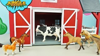 WHAT'S INSIDE the Red Barn? Learn Farm animals for kids toys horse cow sheep