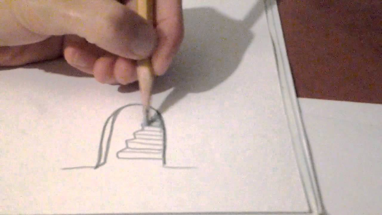 3d Staircase Drawing How to Draw 3d Door on a4
