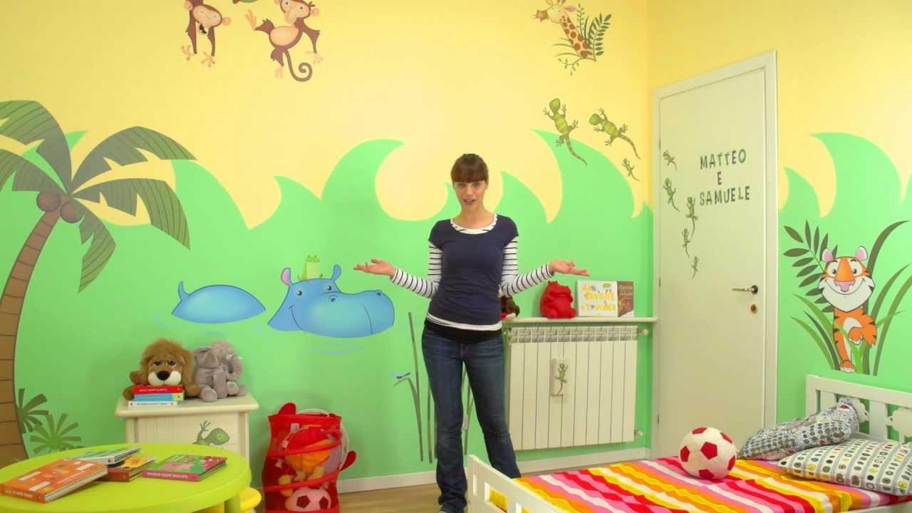 Decorazioni per la cameretta come una giungla parte 2 applicare i wall stickers per bambini - Decorare camera bambini ...
