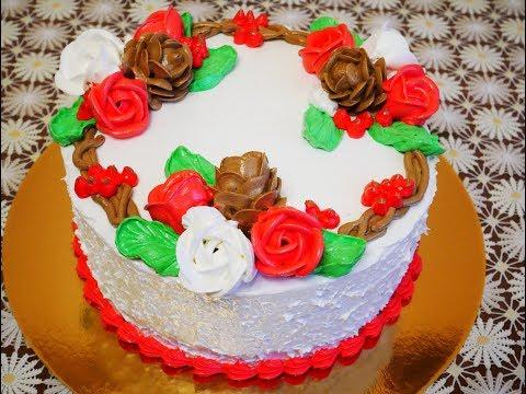 Торт КРАСНЫЙ БАРХАТ торт рецепт НОВОГОДНЕЕ УКРАШЕНИЕ торта Cake decoration