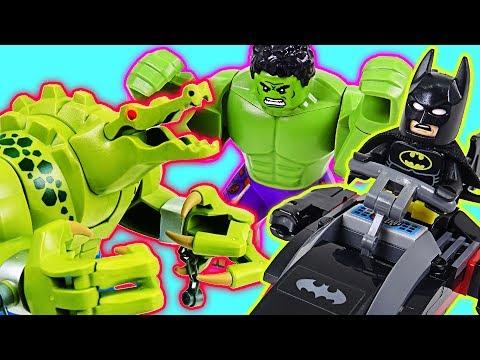 LEGO Batman Movie Batman and Hulk! Defeat the Giant Crocodile and Villain! - DuDuPopTOY