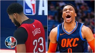 Anthony Davis hurts shoulder, Russell Westbrook's 44-point triple-double not enough | NBA Highlights