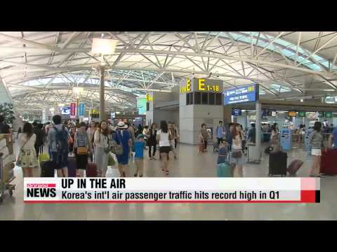 Korea′s int′l air passenger traffic hits record high in Q1   1분기 항공이용량 대폭 증가