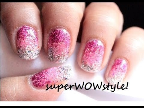 Ombre nails without sponge - No sponge gradient glitter nail art ...