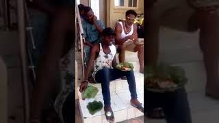 HenryEmerk and Nollywood Actor Owolabi Olasunkanmi Ibrahim eating Ondo Ofada rice