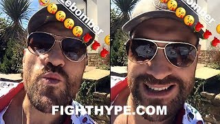 "TYSON FURY BLOWS DEONTAY WILDER A KISS; PROMISES HIM A ""LOVELY SNOG"" WHEN THEY FIGHT"