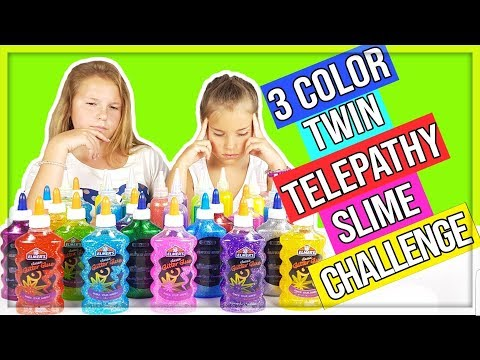 3 COLORS OF GLITTER GLUE TWIN TELEPATHY SLIME CHALLENGE! français