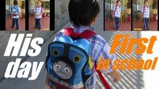 My Son's First Day in School - Preschool 2013