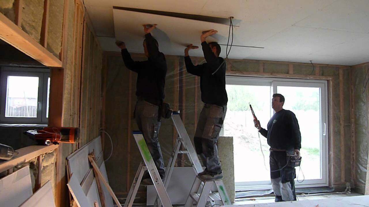 dubbele gyproc platen plafond plaatsen youtube