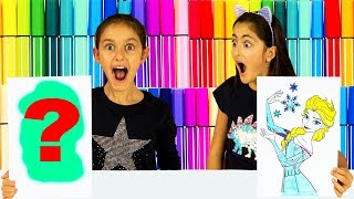 Alexa Chooses My Colors! 3 Marker Challenge!  Frozen Elsa - Lego Edition