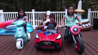 Pretend Play POLICE VS Power Wheels Ride on Car Racers